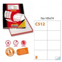 Etichetta adesiva C/512 bianca 100fg A4 105x74mm (8et/fg) Markin