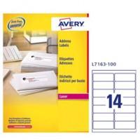 Etichetta adesiva L7163 bianca 100fg A4 99,1x38,1mm (14et/fg) Avery