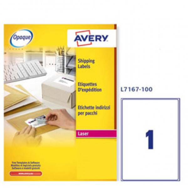 Etichetta adesiva L7167 bianca 100fg A4 199,6x289,1mm (1et/fg) Avery