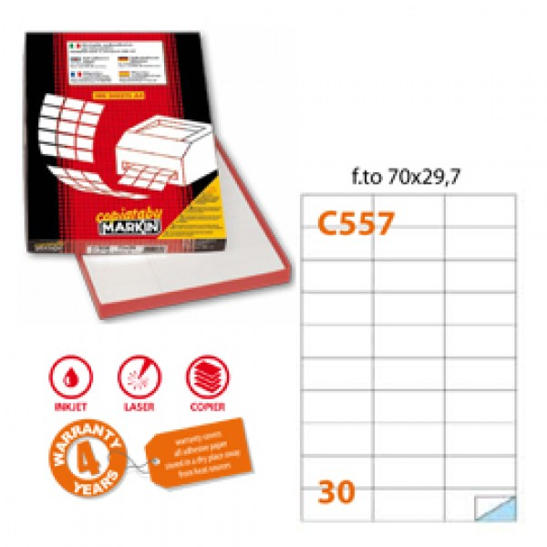 Etichetta adesiva C/557 bianca 100fg A4 70x29,7mm (30et/fg) Markin