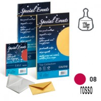 10 buste SPECIAL EVENTS METAL 120gr 110x220mm rosso FAVINI