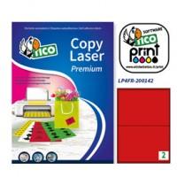 Etichetta adesiva LP4F rosso fluo 70fg A4 200x142mm (2et/fg) Tico