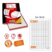 Etichetta adesiva C/581 bianca 100fg A4 19x10mm (280et/fg) Markin