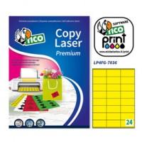 Etichetta adesiva LP4F giallo fluo 70fg A4 70x36mm (24et/fg) Tico
