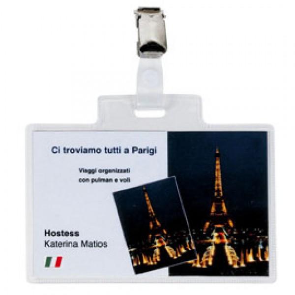 5 portanome Pass 4E 11x7cm c/clip in metallo Sei Rota