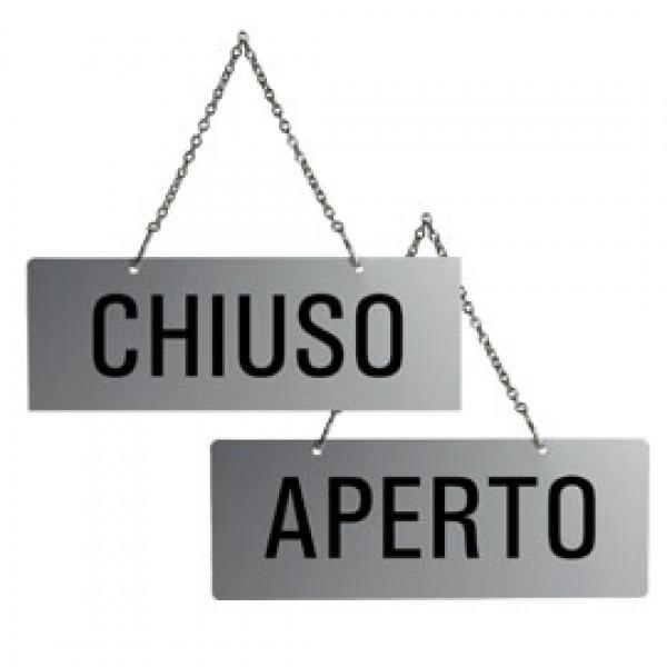 CARTELLO APERTO/CHIUSO 17,5X6,5cm CON CATENELLA