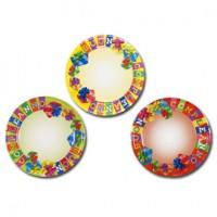 10 piatti carta plastificata diam. 23cm Buon Compleanno colori assortiti Pegaso