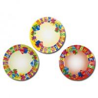 10 piatti carta plastificata diam. 18cm Buon Compleanno colori assortiti Pegaso