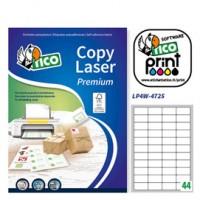Etichetta adesiva LP4W bianca 100fg A4 47,5x25,5mm (44et/fg) Laser Tico