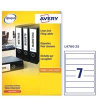 Etichetta adesiva L4760 bianca coprenti 25fg A4 192x38mm (7et/fg) Avery