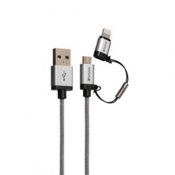 MICROUSB+LIGHTNING CABLE SYNC  CHARGE SILVER 120CM