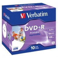 SCATOLA 10 DVD+R JEWEL CASE 16X 4.7GB 120MIN. STAMPABILE WIDE PHOTO INKJET